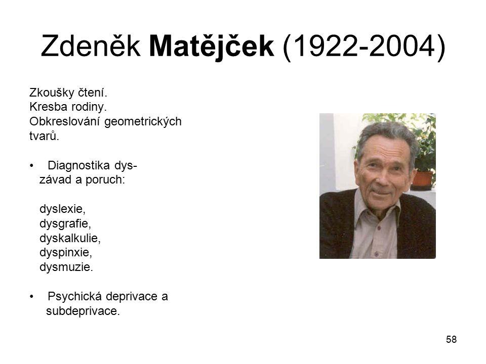 Zdeněk Matějček (1922-2004) Zkoušky čtení. Kresba rodiny.