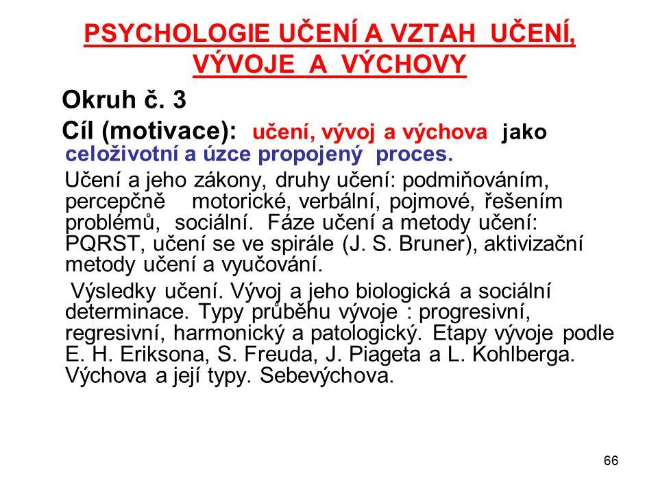 PSYCHOLOGIE UČENÍ A VZTAH UČENÍ, VÝVOJE A VÝCHOVY