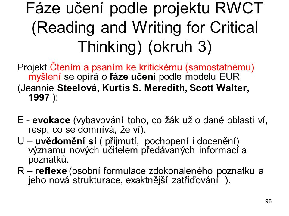 Fáze učení podle projektu RWCT (Reading and Writing for Critical Thinking) (okruh 3)