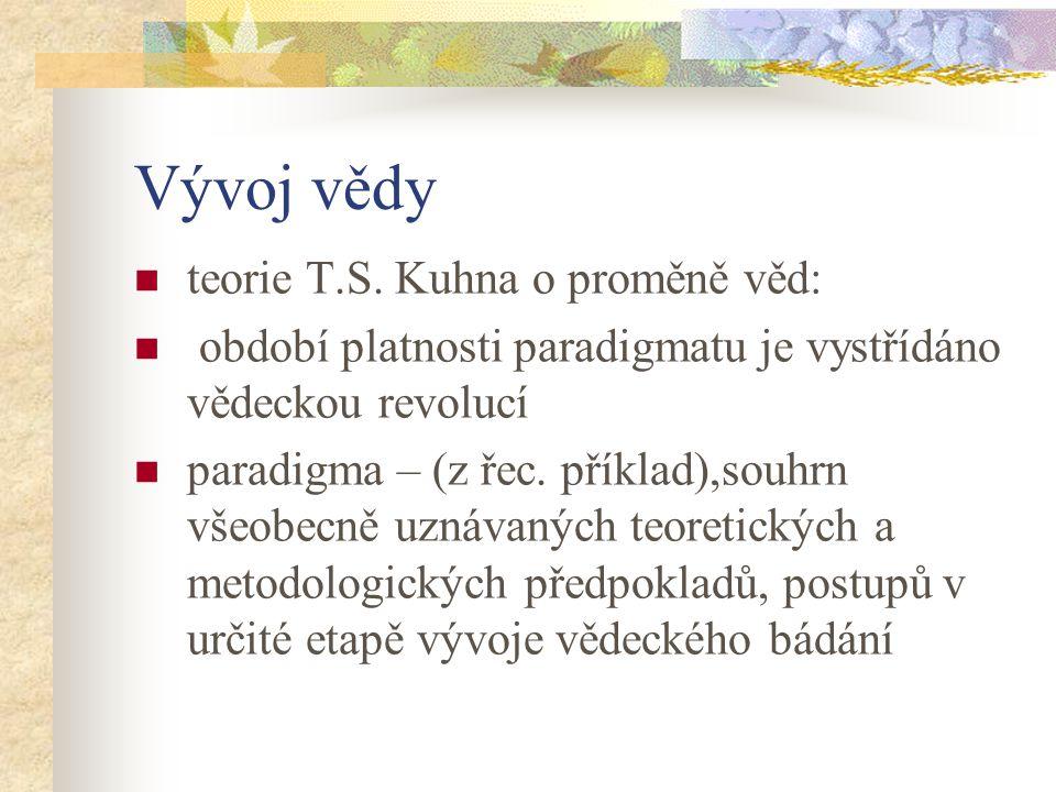 Vývoj vědy teorie T.S. Kuhna o proměně věd: