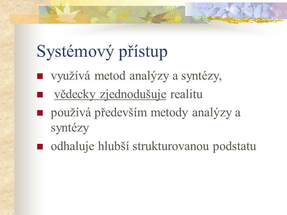 Systémový přístup využívá metod analýzy a syntézy,