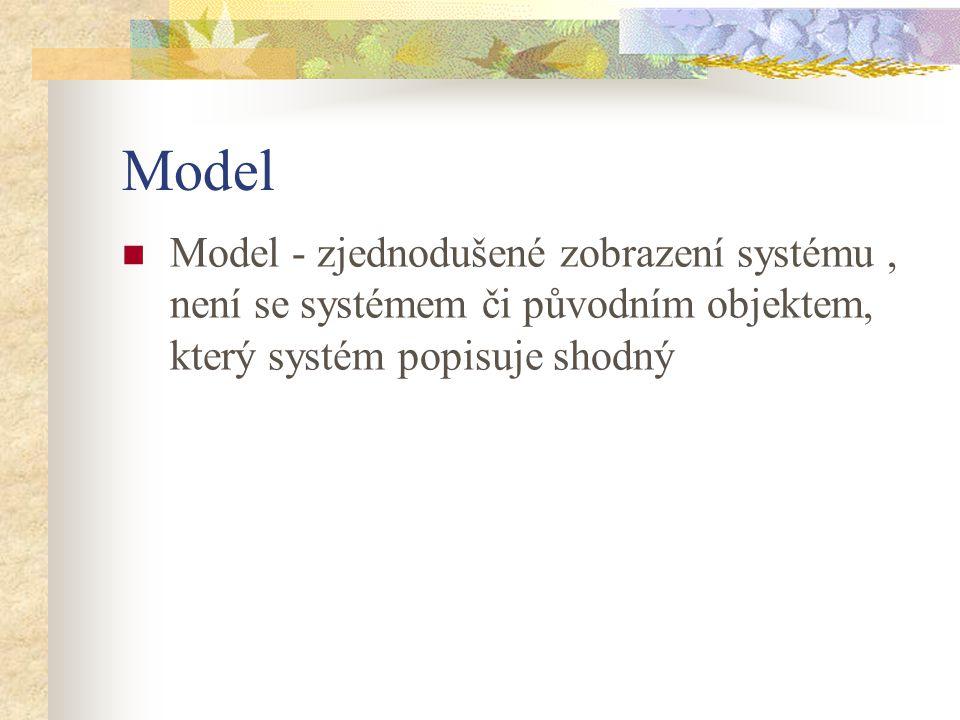 Model Model - zjednodušené zobrazení systému , není se systémem či původním objektem, který systém popisuje shodný.