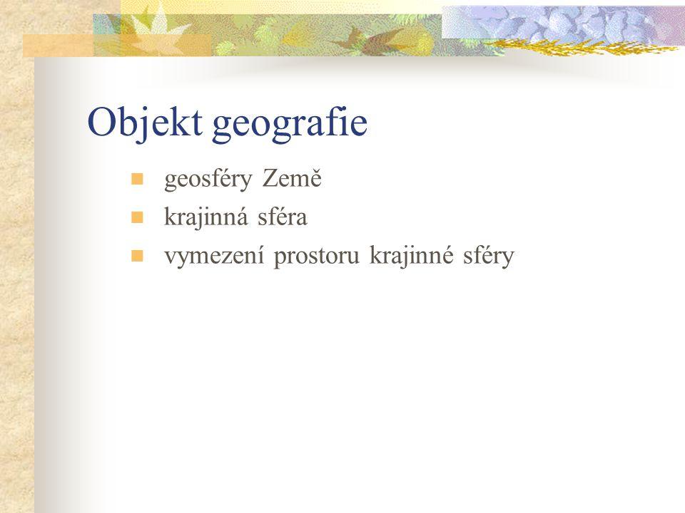 Objekt geografie geosféry Země krajinná sféra