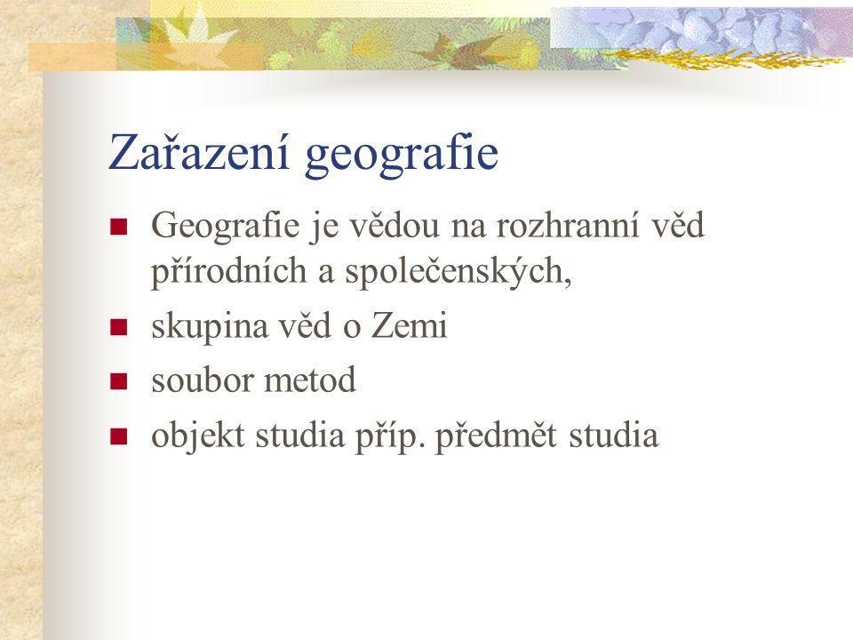 Zařazení geografie Geografie je vědou na rozhranní věd přírodních a společenských, skupina věd o Zemi.