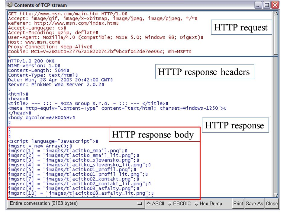 HTTP request HTTP response headers HTTP response HTTP response body