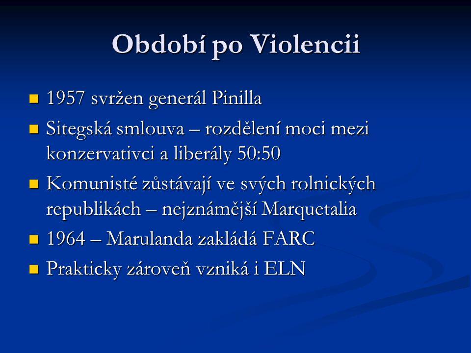 Období po Violencii 1957 svržen generál Pinilla