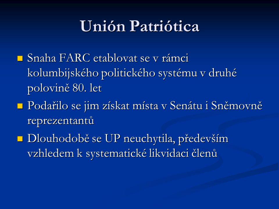 Unión Patriótica Snaha FARC etablovat se v rámci kolumbijského politického systému v druhé polovině 80. let.
