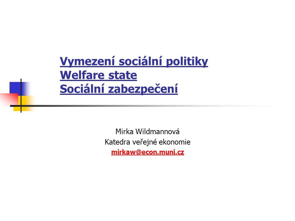Vymezení sociální politiky Welfare state Sociální zabezpečení