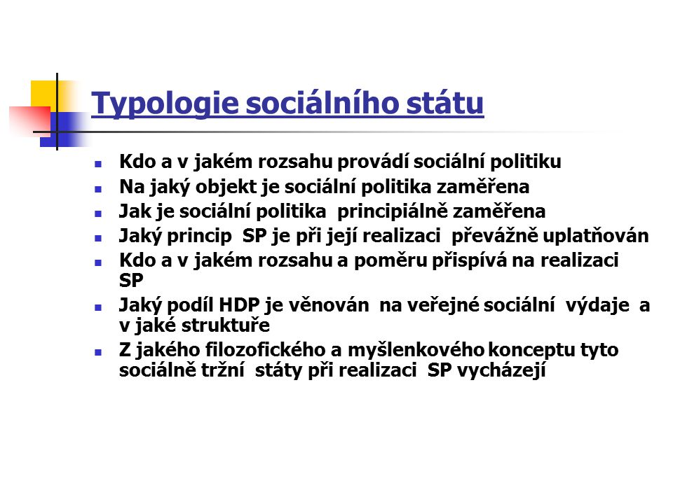 Typologie sociálního státu