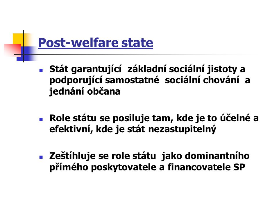 Post-welfare state Stát garantující základní sociální jistoty a podporující samostatné sociální chování a jednání občana.