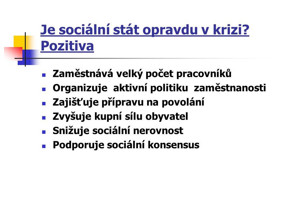 Je sociální stát opravdu v krizi Pozitiva