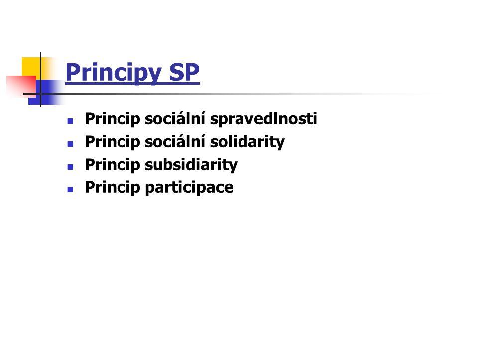 Principy SP Princip sociální spravedlnosti Princip sociální solidarity