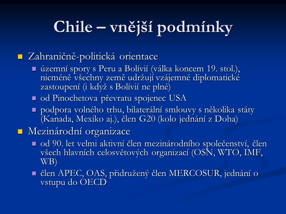Chile – vnější podmínky