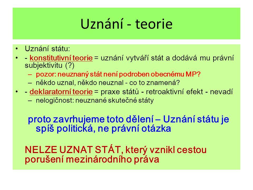 Uznání - teorie Uznání státu: - konstitutivní teorie = uznání vytváří stát a dodává mu právní subjektivitu ( )