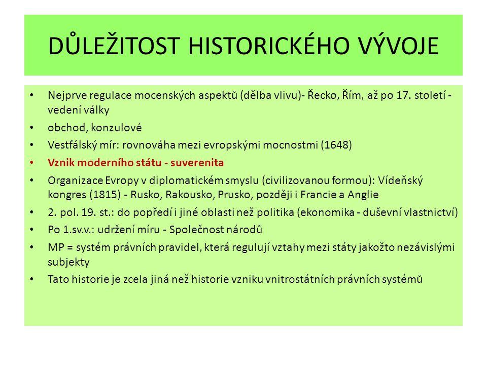 DŮLEŽITOST HISTORICKÉHO VÝVOJE