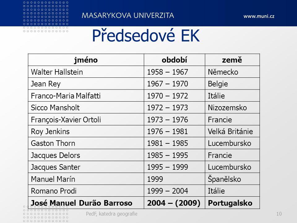 Předsedové EK jméno období země Walter Hallstein 1958 – 1967 Německo