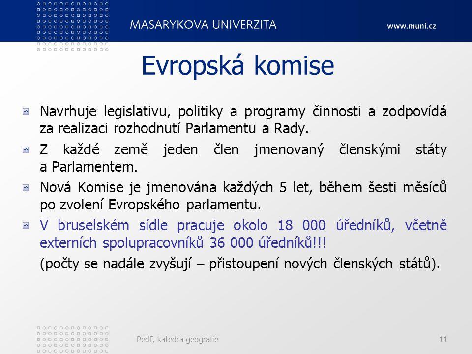 Evropská komise Navrhuje legislativu, politiky a programy činnosti a zodpovídá za realizaci rozhodnutí Parlamentu a Rady.