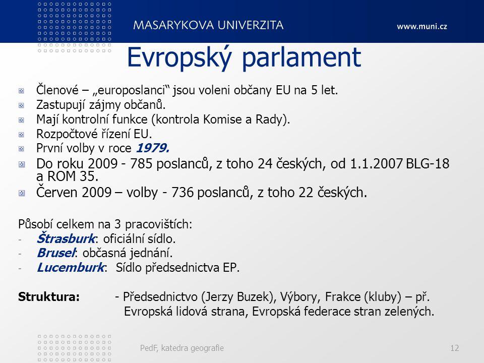 """Evropský parlament Členové – """"europoslanci jsou voleni občany EU na 5 let. Zastupují zájmy občanů."""