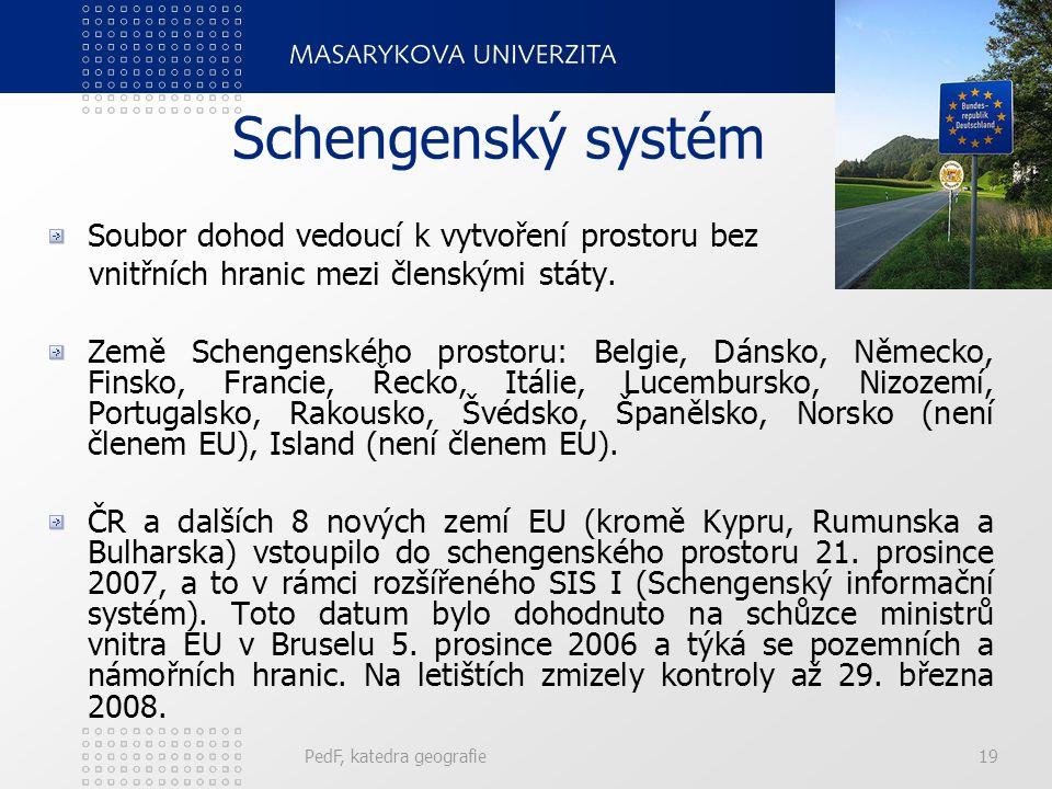 Schengenský systém Soubor dohod vedoucí k vytvoření prostoru bez