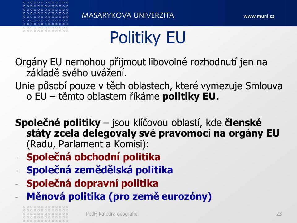Politiky EU Orgány EU nemohou přijmout libovolné rozhodnutí jen na základě svého uvážení.
