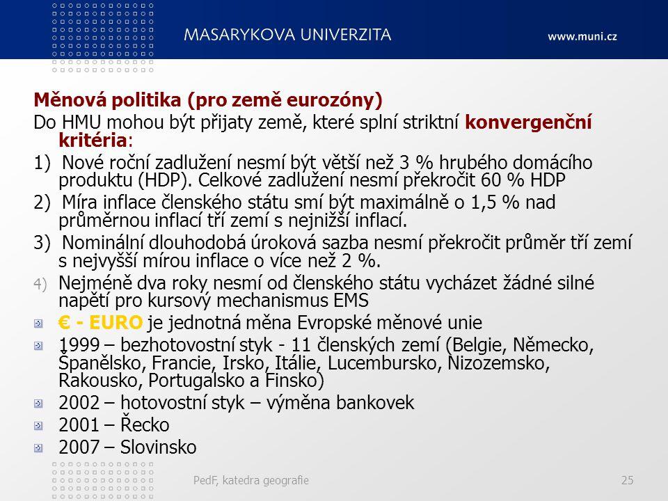 Měnová politika (pro země eurozóny)
