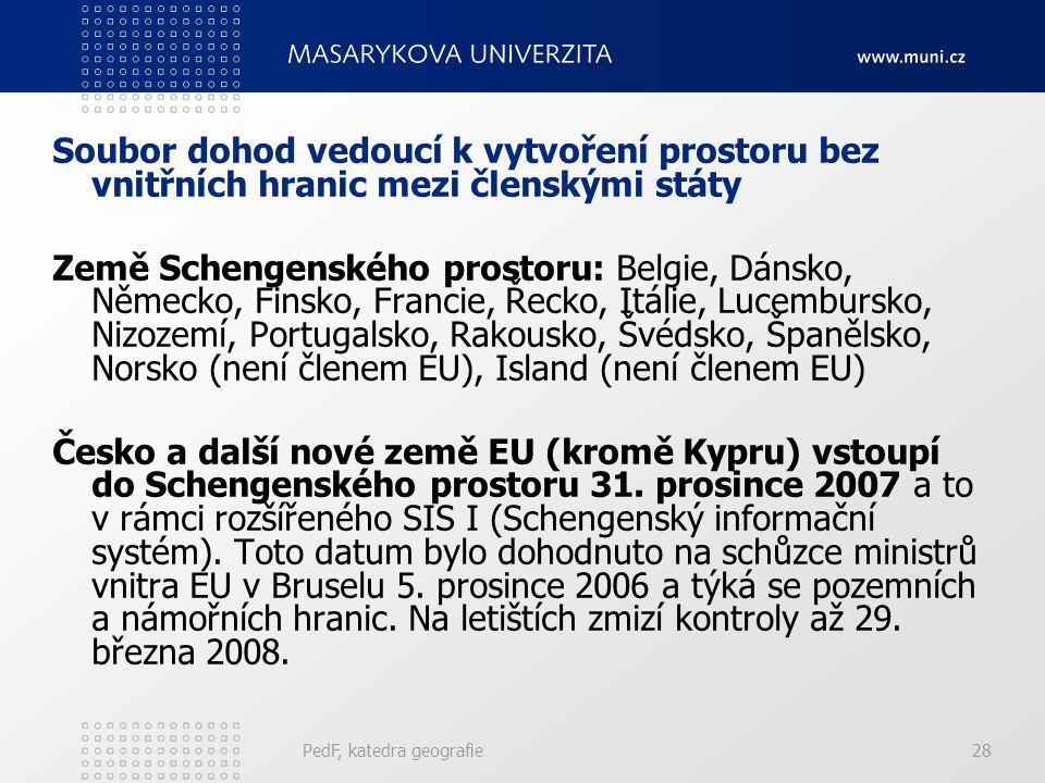 Soubor dohod vedoucí k vytvoření prostoru bez vnitřních hranic mezi členskými státy
