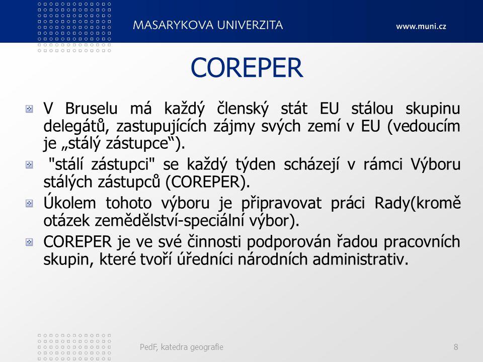 """COREPER V Bruselu má každý členský stát EU stálou skupinu delegátů, zastupujících zájmy svých zemí v EU (vedoucím je """"stálý zástupce )."""
