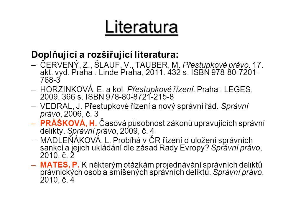 Literatura Doplňující a rozšiřující literatura: