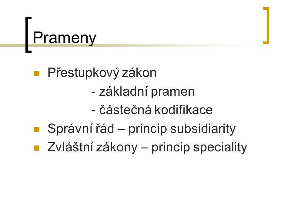 Prameny Přestupkový zákon - základní pramen - částečná kodifikace