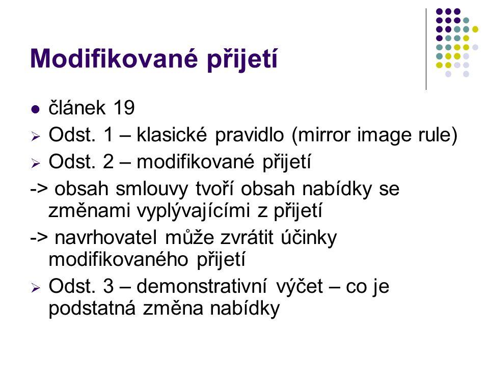 Modifikované přijetí článek 19