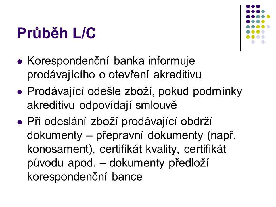 Průběh L/C Korespondenční banka informuje prodávajícího o otevření akreditivu.