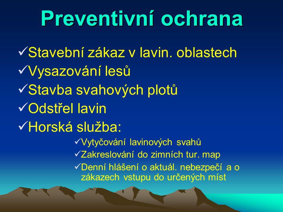 Preventivní ochrana Stavební zákaz v lavin. oblastech Vysazování lesů