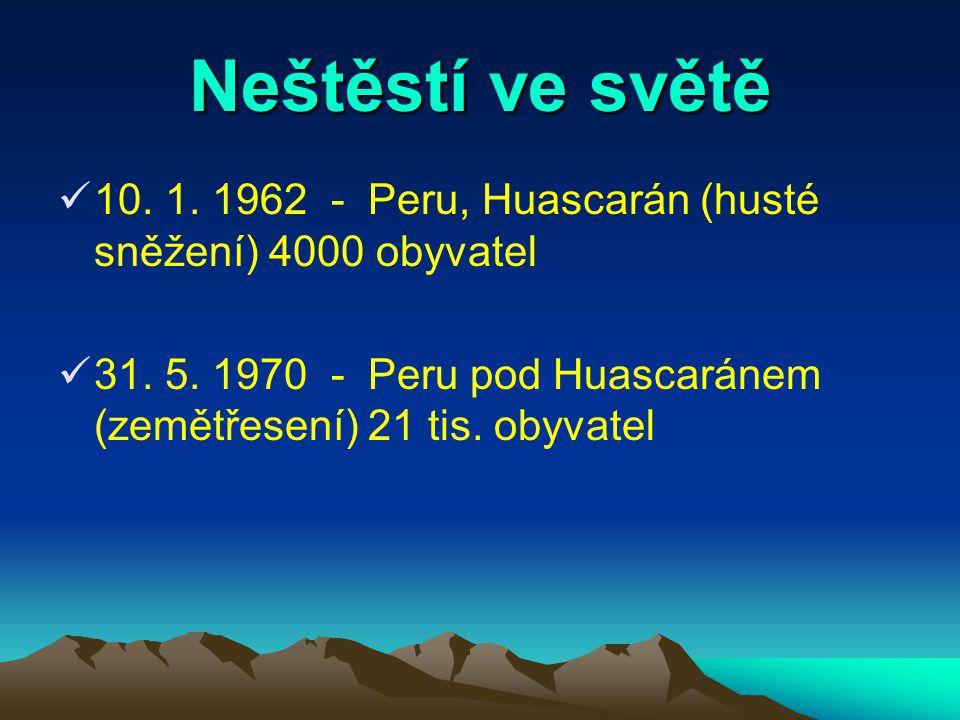 Neštěstí ve světě 10. 1. 1962 - Peru, Huascarán (husté sněžení) 4000 obyvatel.
