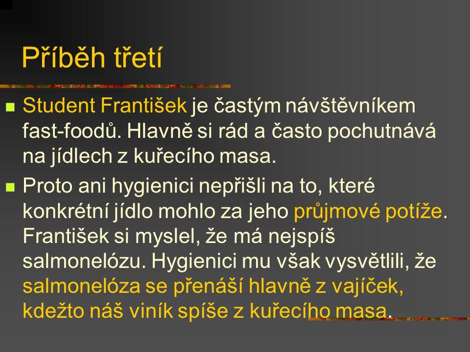 Příběh třetí Student František je častým návštěvníkem fast-foodů. Hlavně si rád a často pochutnává na jídlech z kuřecího masa.
