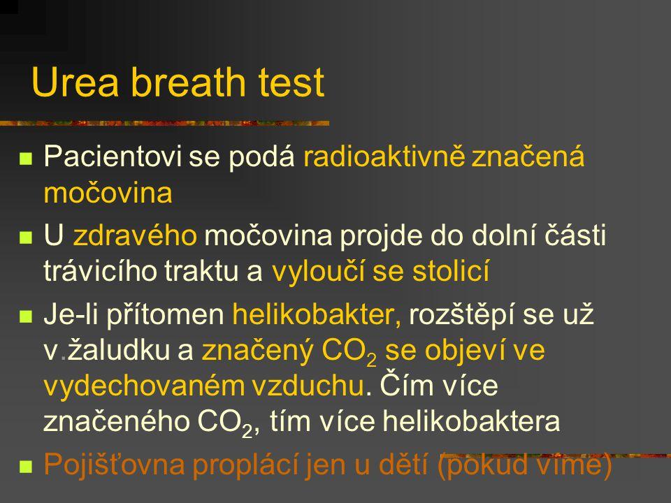 Urea breath test Pacientovi se podá radioaktivně značená močovina