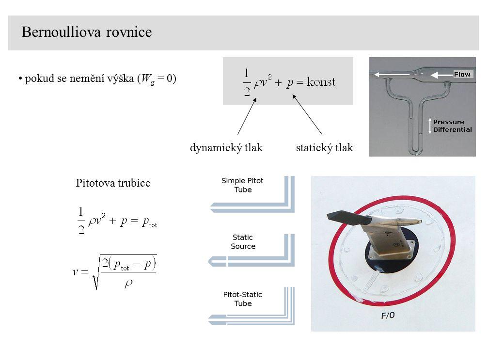 Bernoulliova rovnice pokud se nemění výška (Wg = 0) dynamický tlak