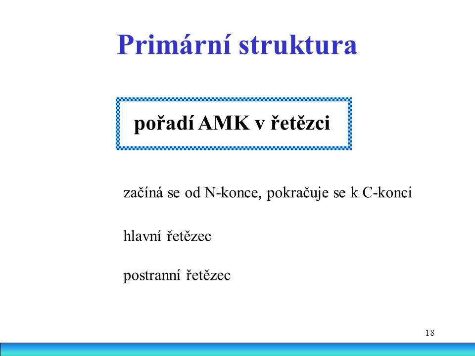Primární struktura pořadí AMK v řetězci hlavní řetězec