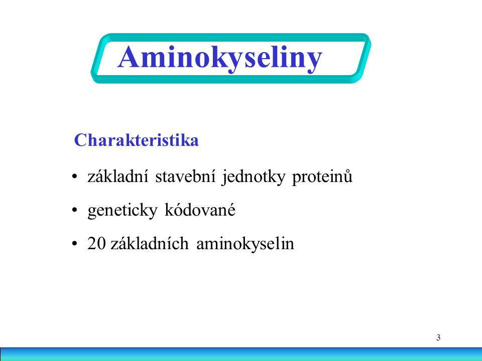Aminokyseliny Charakteristika • základní stavební jednotky proteinů