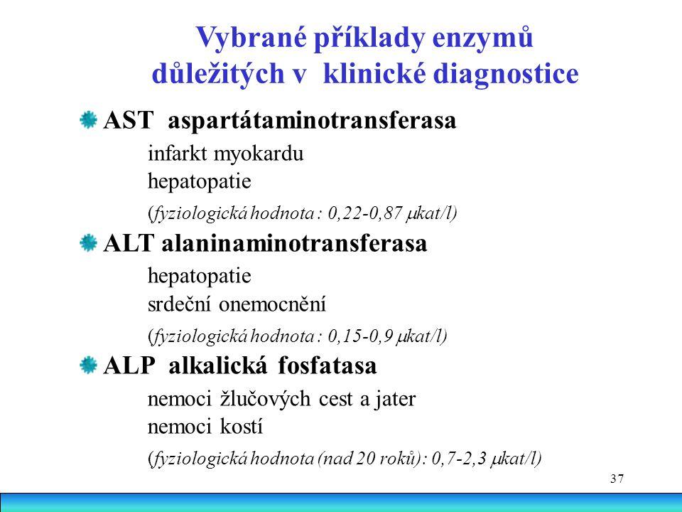 Vybrané příklady enzymů důležitých v klinické diagnostice
