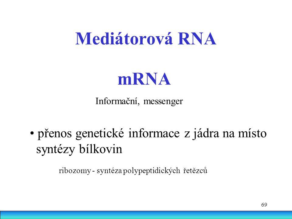 Mediátorová RNA • přenos genetické informace z jádra na místo