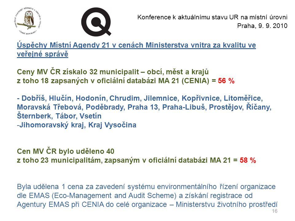 Ceny MV ČR získalo 32 municipalit – obcí, měst a krajů