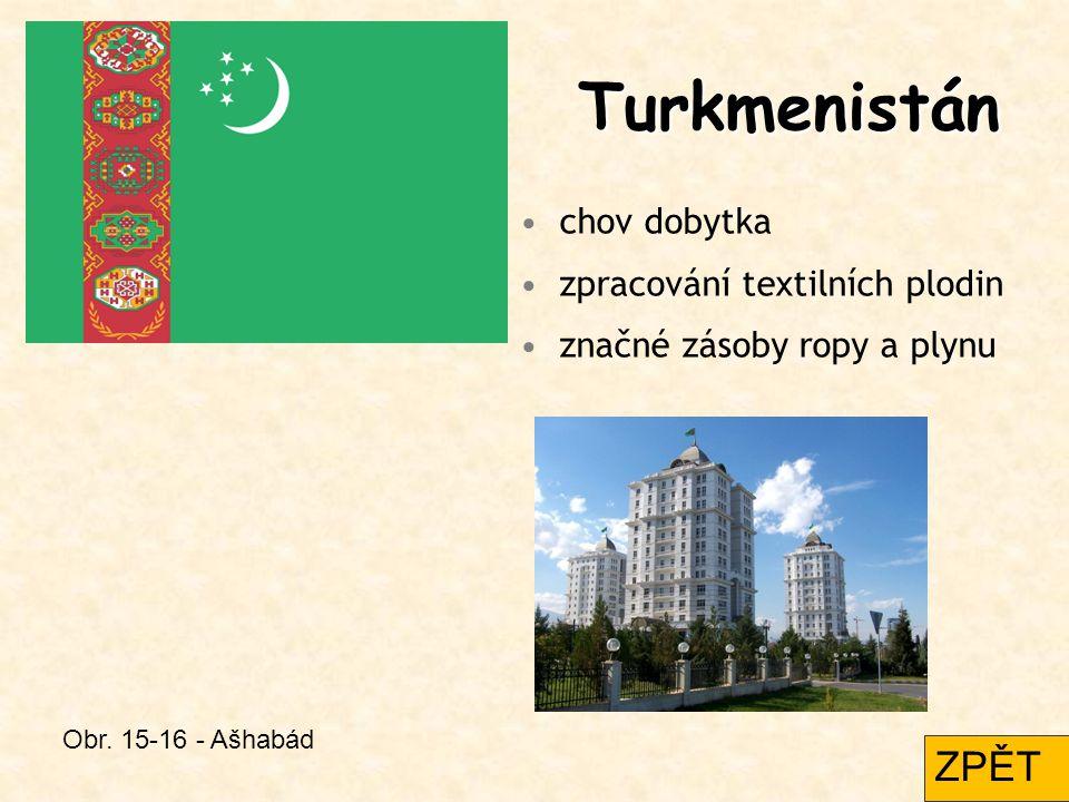 Turkmenistán ZPĚT chov dobytka zpracování textilních plodin