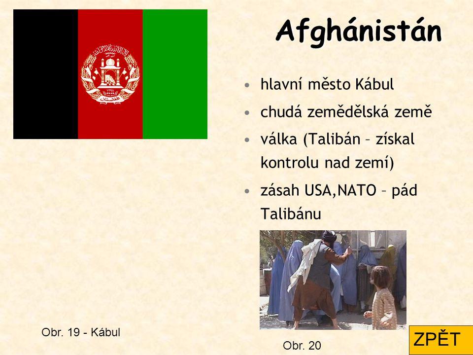 Afghánistán ZPĚT hlavní město Kábul chudá zemědělská země
