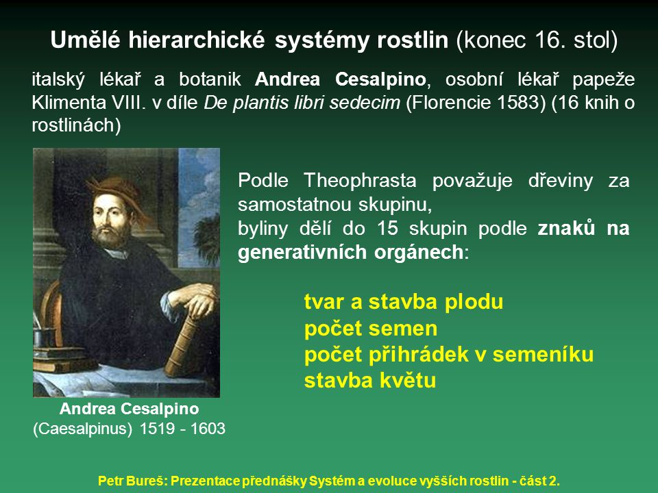 Umělé hierarchické systémy rostlin (konec 16. stol)