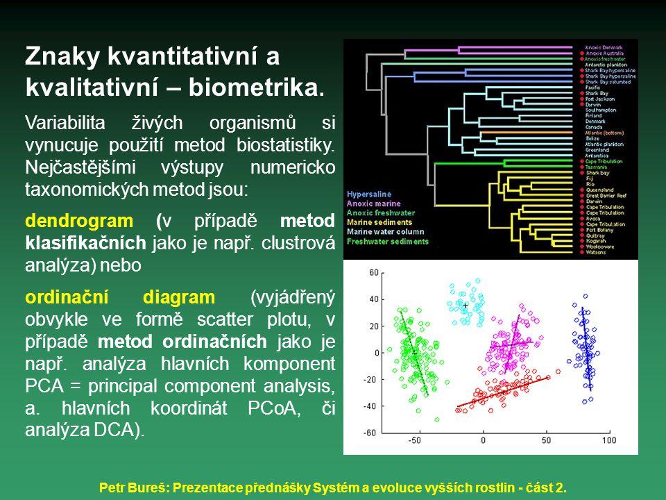 Znaky kvantitativní a kvalitativní – biometrika.