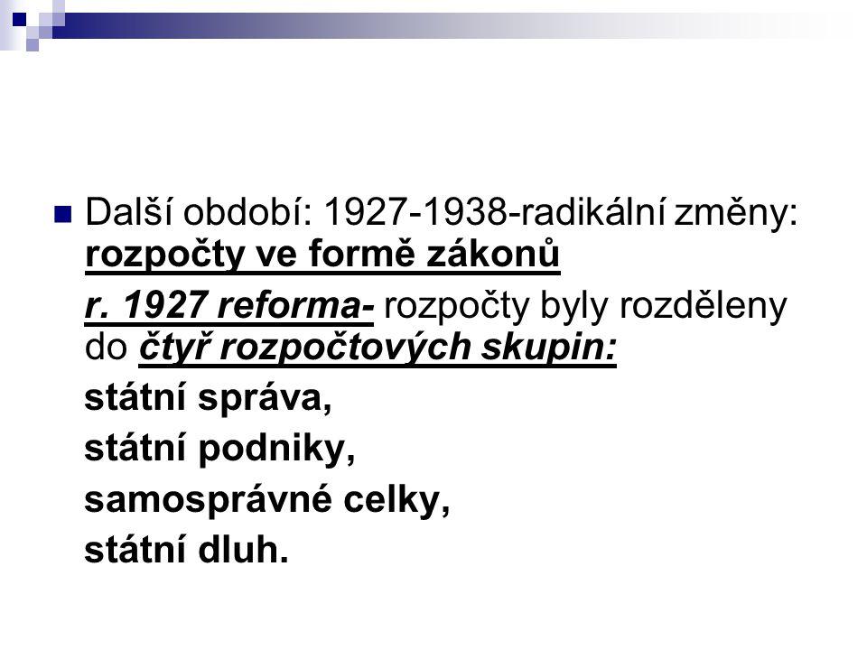 Další období: 1927-1938-radikální změny: rozpočty ve formě zákonů