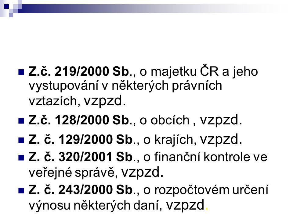 Z.č. 219/2000 Sb., o majetku ČR a jeho vystupování v některých právních vztazích, vzpzd.