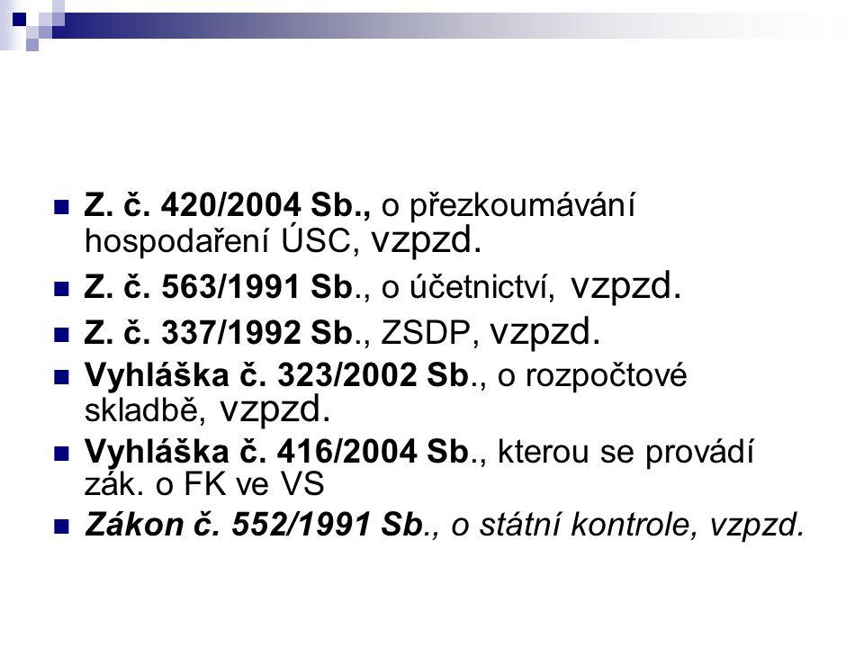 Z. č. 420/2004 Sb., o přezkoumávání hospodaření ÚSC, vzpzd.