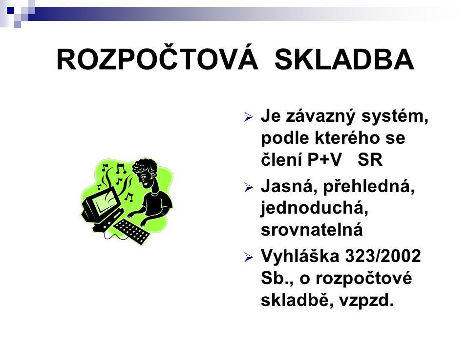 ROZPOČTOVÁ SKLADBA Je závazný systém, podle kterého se člení P+V SR