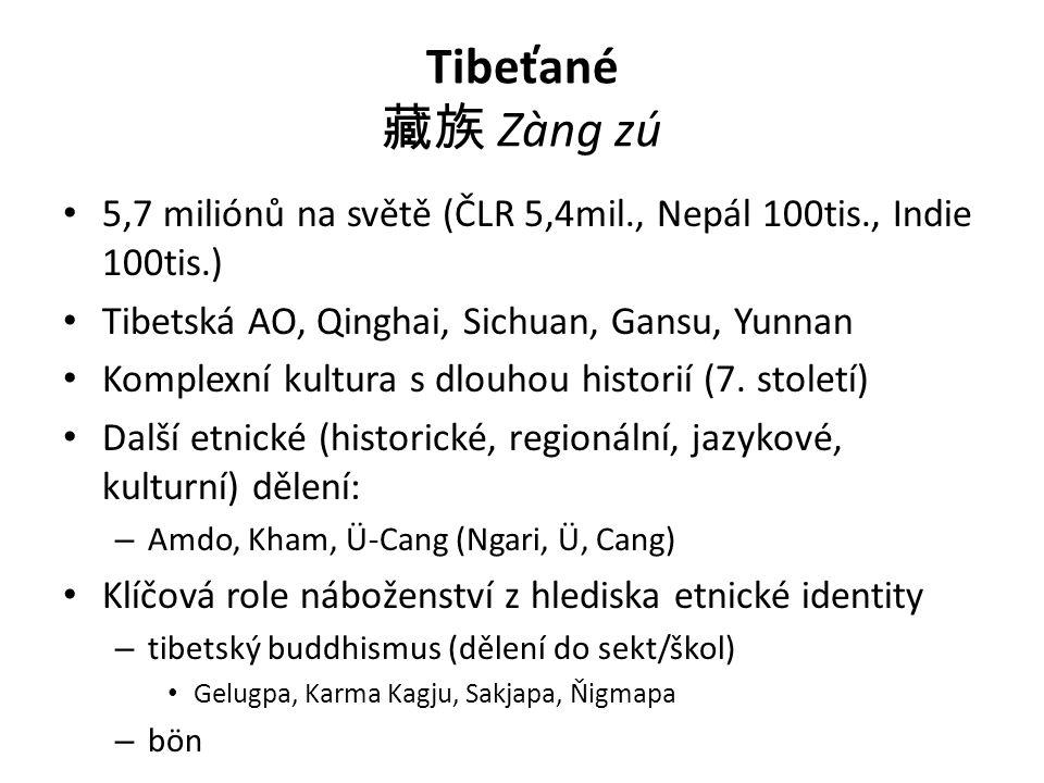 Tibeťané 藏族 Zàng zú 5,7 miliónů na světě (ČLR 5,4mil., Nepál 100tis., Indie 100tis.) Tibetská AO, Qinghai, Sichuan, Gansu, Yunnan.